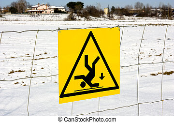 danger of fall sign - slippery area for snow and ice
