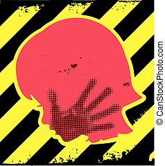 Little girl grunge silhouette with hand print on the face. On yellow and black striped background. Vector available.