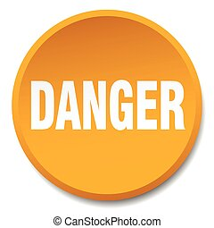 danger orange round flat isolated push button
