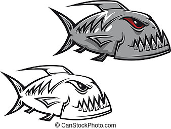Danger piranha fish in cartoon style isolated on white...