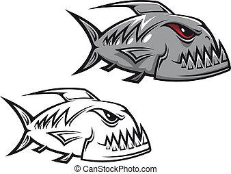 Danger piranha fish in cartoon style isolated on white...