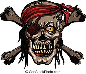 Danger pirate skull in red bandanna and crossbones