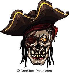 Danger pirate skull in red bandanna