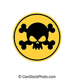 Danger Poison sign yellow. Attention toxic hazard. Warning sign acid pollution