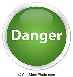 Danger premium soft green round button