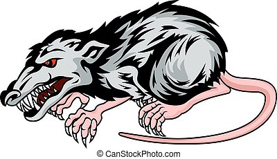 Danger rat isolated on whit background in cartoon style. Vector illustration