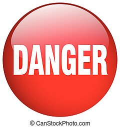 danger red round gel isolated push button