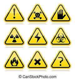 Danger, risk, warning triangle sign - Vector attention...