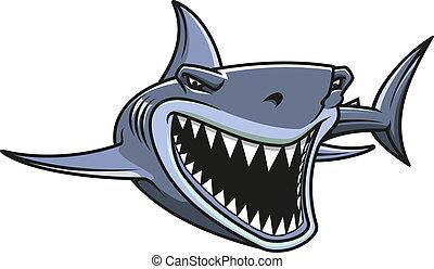 Danger shark attacks - Angry danger shark in cartoon style...