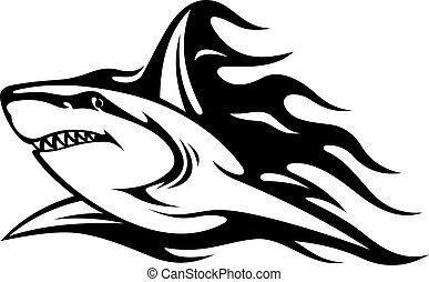 Danger shark tattoo - Danger shark with flames for tattoo...
