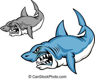 Danger shark - Danger blue shark in cartoon style isolated...