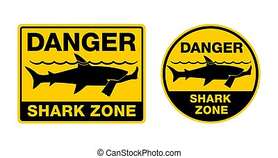 Danger Shark Zone - caution attention sign