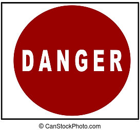 clipart danger sign with whiter letters on red circle