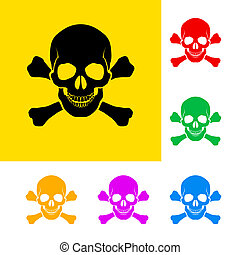 Danger sign of skull and cross bones with color variations.