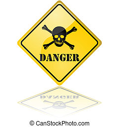Glossy illustration of a danger sign showing a skull with crossed bones