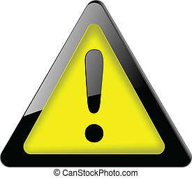 Danger, exclamation sign, icon black and yellow, vector.