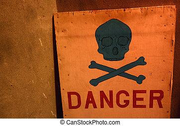 Danger sign in red under black skull
