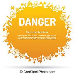 Danger sign set in cloud banner