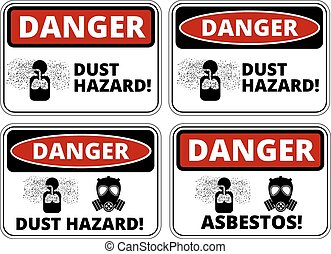 Danger sign - Set of danger Dust Hazard signs, four designs,...