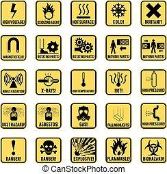 Danger sign - Set of danger restricted and hazards signs ...