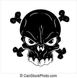 Danger Sign Skull Tattoo Vector