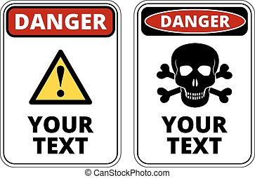 Danger sign template with A4 format proportion. Two red, black and white colored design. Vector
