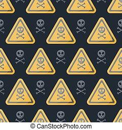 Danger sign vector flat seamless pattern, Flat design of...