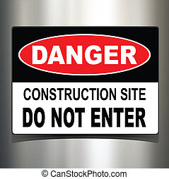 Danger sign, warning technology background