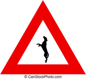 danger sign with leaping dog