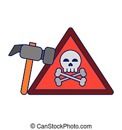 danger sign with tools blue lines