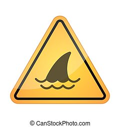 Danger signal icon with a shark fin