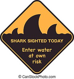 Danger Signal Icon With A Shark Fin.