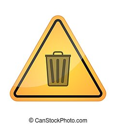 Danger signal icon with a trash can