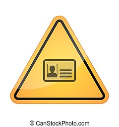 Danger signal icon with an id card