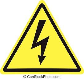 danger, signe., symbole., élevé, avertissement, tension, icon.
