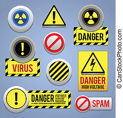 Danger signs, buttons and icons. - EPS10.