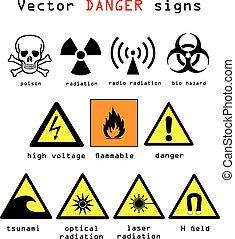 Danger signs vector illustration - Warning and danger signs...