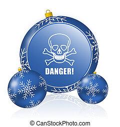 Danger skull blue christmas balls icon