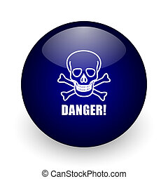 Danger skull blue glossy ball web icon on white background. Round 3d render button.