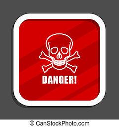 Danger skull icon. Flat design square internet banner.