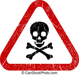 Danger skull icon isolated on white