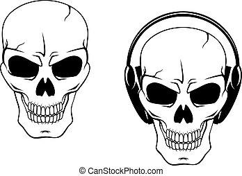 Danger skull in headphones