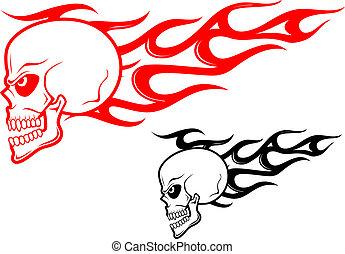 Danger skull with flames as a warning or evil concept