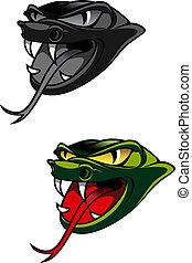 Danger snake - Green head of danger snake as a warning ...