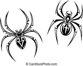 Danger spiders - black danger spiders isolated on white...