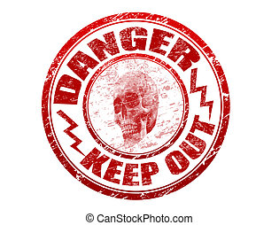 Danger stamp - Abstract red rubber office stamp with skull, ...