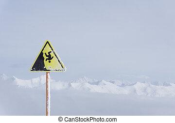 danger steep cliff mountain sign