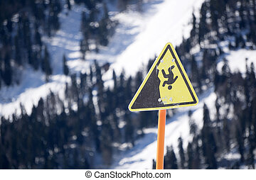 danger steep cliff mountain sign,