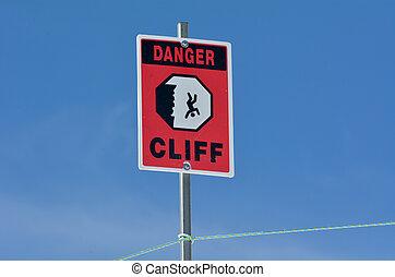 Danger steep cliff sign background