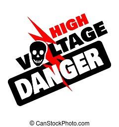 Danger symbol High Voltage Sign Vector with skull Lightning electricity symbol warning template illustration